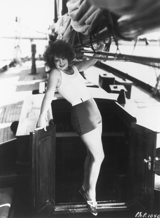 Paramount star Clara Bow aboard her yacht, c 1920s.