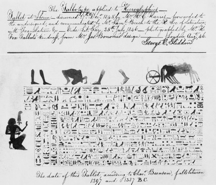 'Copy of a translation of a hieroglyphic tablet', c 1845.