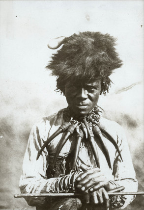 Zulu medicine man, South Africa, 1900-1925.
