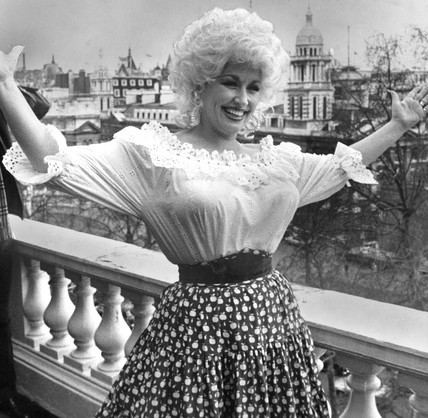 Dolly Parton on Carlton Terrace, London, March 1983.