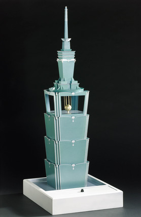 Model of Taipei 101, world's tallest building, 2006.