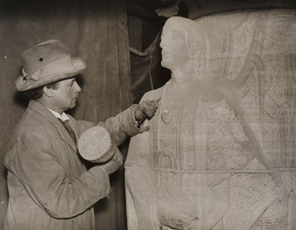 A sculptor working on Liverpool Anglican Cathedral, 1934.