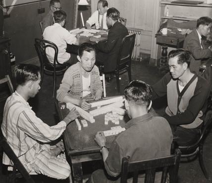 Chinese seamen playing Mahjong, 2 August 1962.