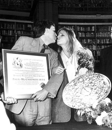 Paul and Linda McCartney, Picton Library, Liverpool, November 1984.