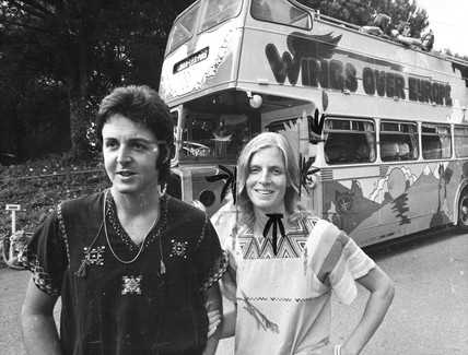 Paul and Linda McCartney on tour with 'Wings', South of France, 1979.
