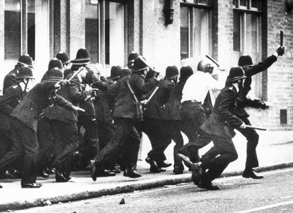 Police charge, Brixton riots, London, April 1981.