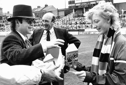 Elton John at Watford Football Club, April 1985.