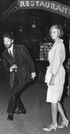 Peter O'Toole and Barbara Steele, Rome, 1964.
