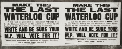 Poster advocating banning the Waterloo Cup, 3 February 1949.;