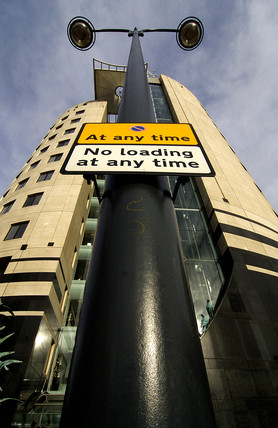 'No loading' sign outside No 1 City Square, Leeds, 2007.