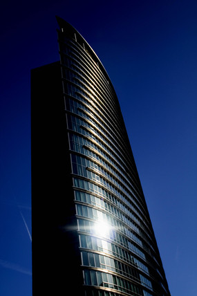 Sun glinting off an office block, Docklands, London, 2007.