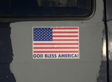 'God Bless America' sticker, New Jersey, USA, 2007.