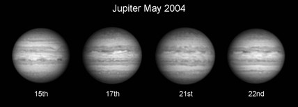 Jupiter in infrared light, 2004.