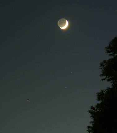 The Moon, Mars and Saturn, 22 May 2004.