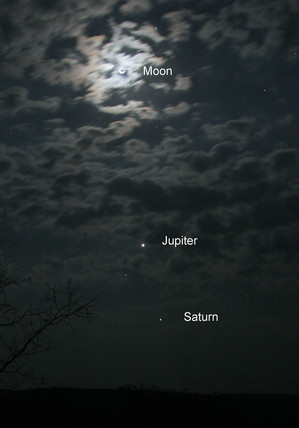 The Moon, Jupiter and Saturn, 2005.