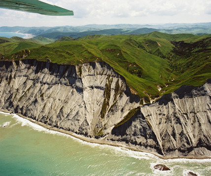 Dramatic coastal erosion, New Zealand, December 1985.