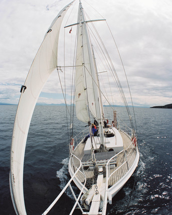 Sailing on Lake Taupo, New Zealand, 2000.
