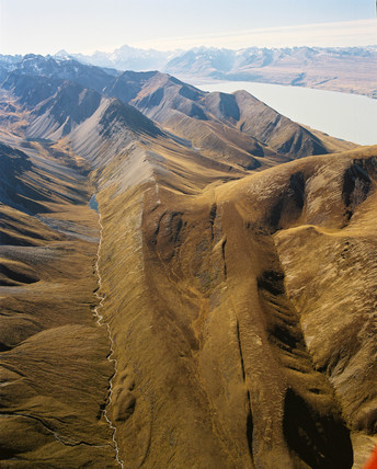 aerial view of fault line, New Zealand, May 1995.