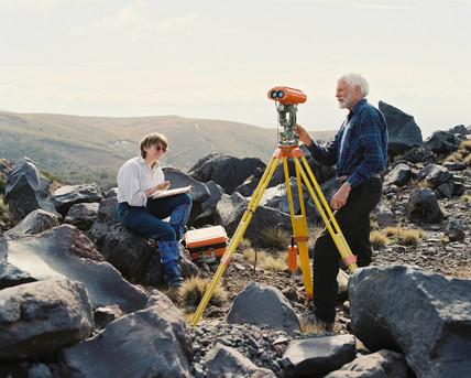 Geologists at Mount Ruapehu, New Zealand, October 1995.