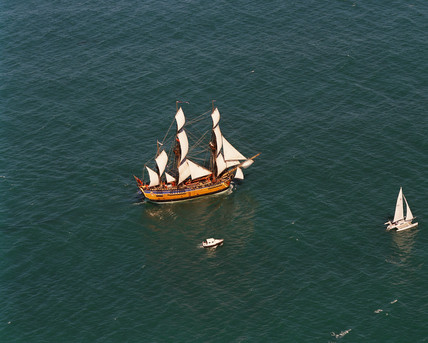 Replica of Cook's ship 'Endeavour', New Zealand, February 1996.