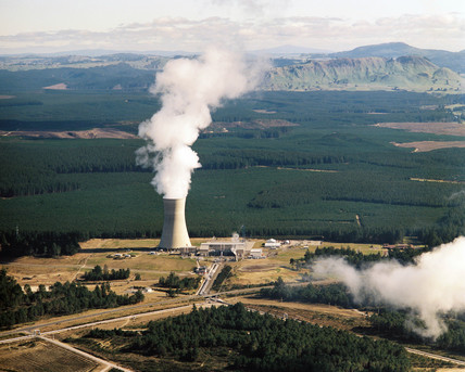 Cooling towers, geothermal power plant, Ohaaki, New Zealand, 1990.