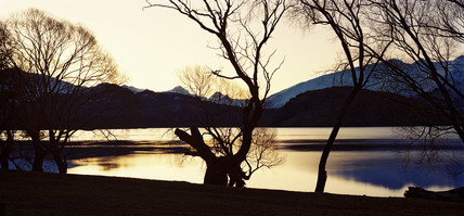 Sunset on Lake Wanaka, Glendhu Bay, New Zealand, 1993.
