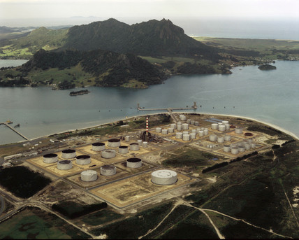 Marsden Point oil refinery, Whangarei, New Zealand, August 1976.