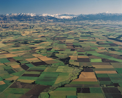 Farmland, Canterbury Plains, New Zealand, April 1985.
