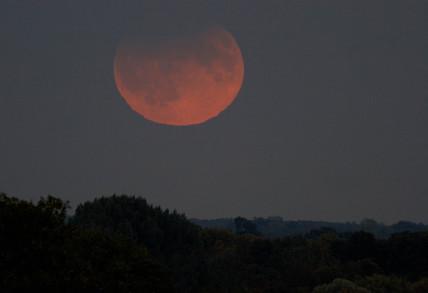 Partial lunar eclipse, United Kingdom, 7 September 2006.