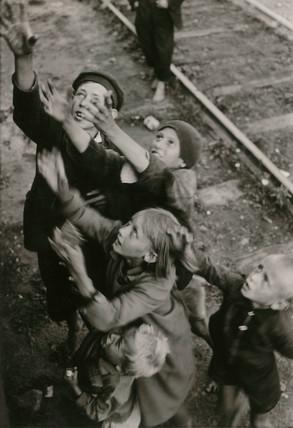 Children begging, Poland, Second World War, 1940s.