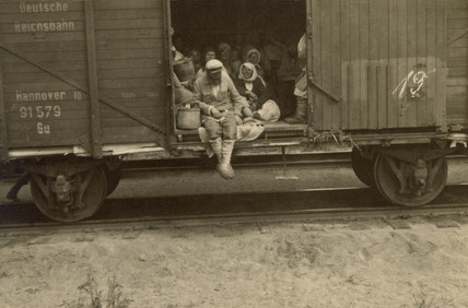 Refugees in German railway truck, Russia, Second World War, 1940s.