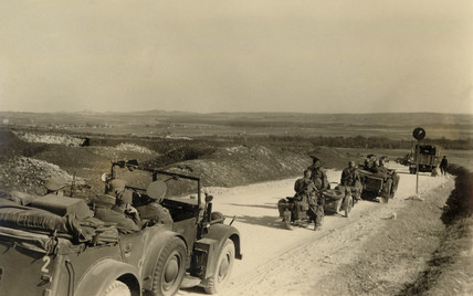 German army column rolls across Russia, Second World War, 1940s.