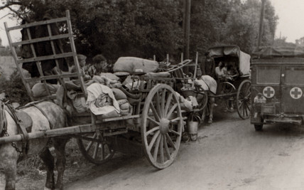 Refugees in carts, Second World War, 1940s.