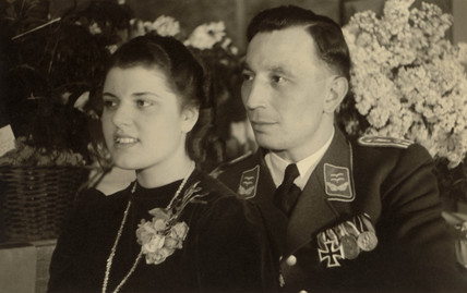 German officer and his wife, Second World War, 1940s.