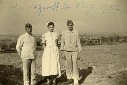 German soldiers and nurse, Prague, Second World War, 1942.