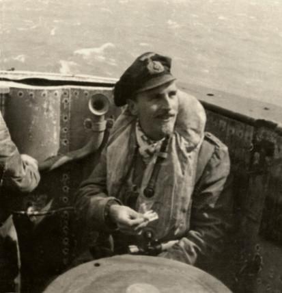 German submarine captain, (possibly aboard U-boat U-856), WWII, 1940s.
