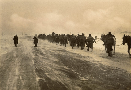 German troops marching in the snow, Second World War, 1940s.