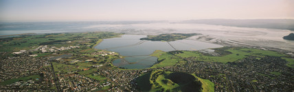 Reclaimed land used as wildlife habitat, New Zealand, 1992.