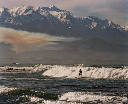 Surfing, Kaikoura Range, New Zealand, 1996.