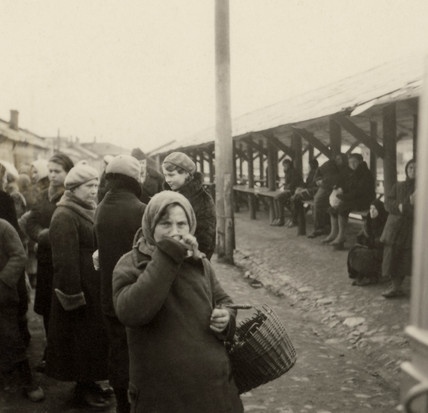 Russian women at a market, Second World War, 1940s.