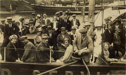 Holidaymakers on a boat, England, c 1920s.