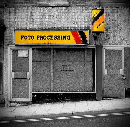 Boarded up photographer's shop, Bradford, West Yorkshire, 2007.