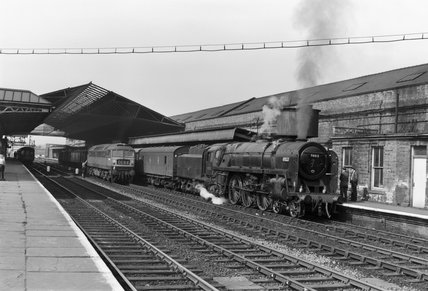 Steam locomotive 'Apollo', with goods train, Wakefield Kirkgate Station, c 1966.