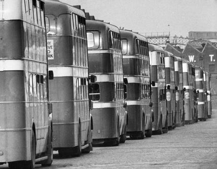 Bus queue, May 1961.