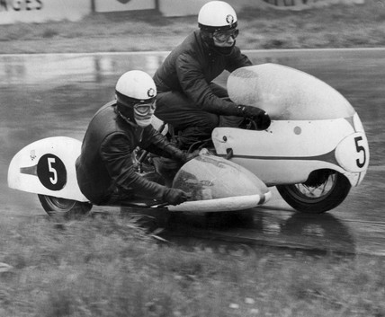 Motorcycle race, Oulton Park, Cheshire, August 1966.