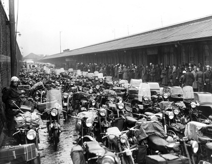 Motorcycles waiting to be loaded onto a ferry, Liverpool, June 1955.