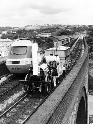 'Rocket' replica and modern train, c 1980s.