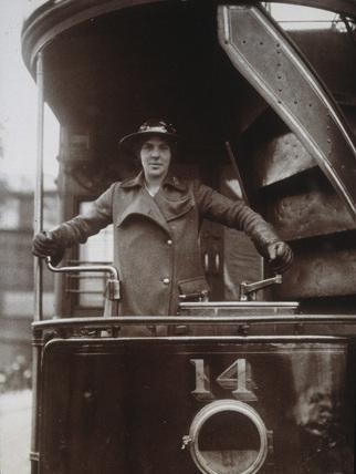 Female tram driver, First World War, 1916.