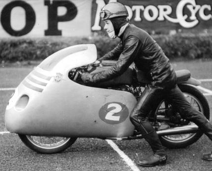 Motorcyclist Luigi Taveri on a MV Agusta, August 1956.