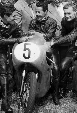 Motorcyclists, TT race, Isle of Man, June 1961.